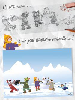 Croquis et illustration colorisé neige